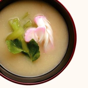 Japanese Butterbur And Decorative Fish Cake Miso Soup 365 Miso Soups Fundokin Shoyu Co Ltd
